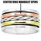 Two Tone Spinner 925 Sterling Silver Ring Jewelry DGR1052
