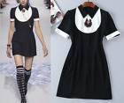 Occident fashion lapel color matching beaded elegant comfortable hot dress SMLXL