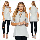 Grey Ladies Choker Top Blouse Evening Fitted Womens Stretch Size s/m m/l UK❤