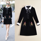 New Occident fashion doll neck get butterflies embroidered makings Party dress