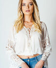 White Boho Lace Detail Summer Loose Blouse Tops Sizes 8 10 12 14