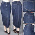 NWT Stretch Denim Dark Indigo Straight Long Skirt,size S to 3XL - #SG-85909