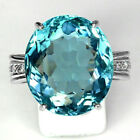 Topaz CZ Rings 925 Silver Elegance Chic Blue Aquamarine Party Cocktail Ladies