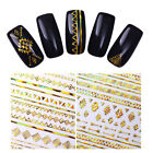 3D Nail Sticker Gold Geometric Line Holographic Nail Art Adhesive Transfer Decal