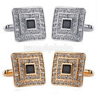 Fashion Gold Silver Gem Crystal Shirt Cufflinks Groom Mens Womens Cuff Link Gift