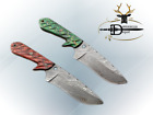 "9""  DAMASCUS SKINNER KNIFE, 2 TONE JIGGED WOOD, RED & GREEN COLOR LEATHER SHEATH"