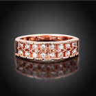 Womens Rose Gold Plated Austrian AAA CZ Crystal Elegant Ring Wedding Band  #GR11