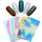 AB Color Holo 3D Hollow Nail Sticker Stripes Round Maniucre Adhesive Decoration