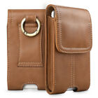 Business Men Vertical Genuine Leather Cell Phone Pouch Case Belt Loop Holder US