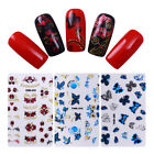 30 Sheets Nail 3D  Stickers Decals Butterfly Rose Flower Nail Art Manicure  Kit