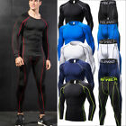 Mens Compression Running Pants Athletic Base Layers Basketball Training Tops Set
