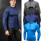 Men's Compression Tops Running T-shirt Zip Neck Gym Athletic Base Layers Tights