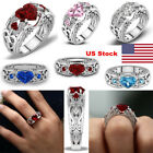 US Heart Women's Ring Sliver Zircon Plated Crystal Engagement Valentine's Day
