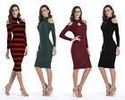 Winter Women Lady Sexy Long Sleeves Cut Out Bodycon Knit Slim Dress Club Party