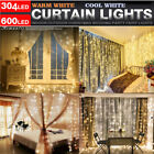 curtain light - 100/304 LED Fairy String Hanging Icicle Snowing Curtain Light Outdoor Xmas Party
