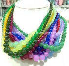 Wholesale 6-14mm Multi-color Gemstone Round Beads Jewelry Necklaces 18'' Aaa