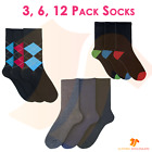6 12 Pack Mens Designer Assorted Dress Socks Cotton Rich Comfortable Breathable