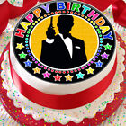 JAMES BOND SILHOUHETTE HAPPY BIRTHDAY 7.5 INCH PRECUT EDIBLE CAKE TOPPER $3.71 USD on eBay