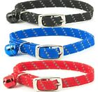 RELECTIVE & ELASTICATED CAT COLLARS - (with bell) - Ancol Soft Pet bp Night Safe