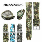 20/22/24mm Blue/Green/Grey Army Camo Watch Band Sport Silicone Rubber Strap