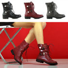 New Womens Lace Up Biker Ankle Mid Calf Ladies Buckles Zip Military Combat Boots