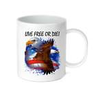 Coffee Cup Travel Mug 11 15 Oz Patriotic USA Live Free Or Die America Eagle