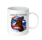 Coffee Cup Travel Mug 11 15 Oz Patriotic USA Eagle Land Of The Free