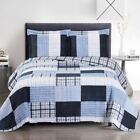Sophisticated Zoe Reversible Blue Quilt Set image