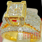10K Yellow Gold Over Sterling Silver Ladies 2 Piece Bridal Wedding Ring Band Set