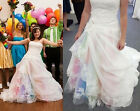 Rainbow Wedding Dresses Colored Strapless Lace Appliques Ball Gowns Bridal Dress
