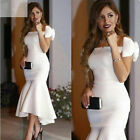 Sexy Mermaid High Low Off Shoulder Evening Formal Bridesmaid Party Prom Dresses
