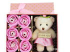 Romantic 6Pcs Scented Soap Rose Flower Petal With i love you bear Valentine Gift