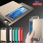Shockproof Hybrid Credit Card Pocket Wallet Pouch Case PC Back Cover For iPhone