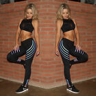 Push up Reflective Leggings Women Skinny Elastic Stripe Print Sporting Pants US