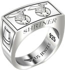 Men's 0.925 Sterling Silver 8mm Freemason Shriner Mason Ring Band Size 8 to 13.5