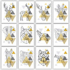 GEOMETRIC Art PRINT Yellow & Grey ANIMAL collection SCANDINAVIAN Poster Wall