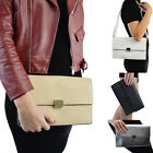 New Womens Clutch Bag Envelope Ladies Synthetic Leather Evening Shoulder UK