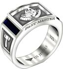 Men's 8mm 0.925 Sterling Silver Past Master Simulated Sapphire Masonic Ring Band