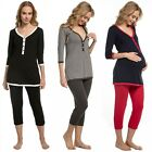 Zeta Ville. Women's Maternity Top T-shirt Breastfeeding Pyjamas Crop Pants. 213p