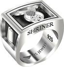 Men's Heavy 0.925 Sterling Silver Freemason Shriner Ring Band, Size 8 to 13