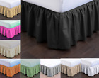 NEW MODERN SOLID DUST RUFFLE SPLIT CORNERS 1PC BED BEDDING PLEATED SKIRT TWIN  image