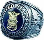 U.S. AIR FORCE SIGNET RING RHODIUM/SILVER BLUE AUSTRIAN CRYSTAL ETCHED 18K GOLD