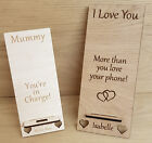 PERSONALISED MOTHERS DAY GIFT PHONE HOLDER STAND DOCK MUM MUMMY WOODEN OAK