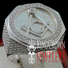 MENS REAL 925 SILVER LAB DIAMOND FREE MASON G COMPASS MASONIC PINKY RING BAND
