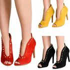 Women's Shoes Studded Pointy V Front Faux Suede Stiletto Heeled Boots