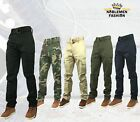 MEN SLIM STRAIGHT TWO SIDE CARGO POCKETS WITH BELT LONG PANTS