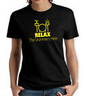 RELAX DRUMMERS HERE BLACK & YELLOW WOMENS T SHIRT MUSIC RHYTHM DRUMSET FUNNY