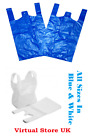 PLASTIC VEST CARRIER BAGS BLUE OR WHITE *ALL SIZES* Packaging for Shops Home UK