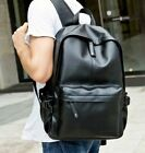 mens fashion retro leather casual book bags travel pockets backpack bags