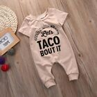 US Funny Baby Romper Outfit Lets Taco Bout ItJumpsuit One Piece Cute Romper